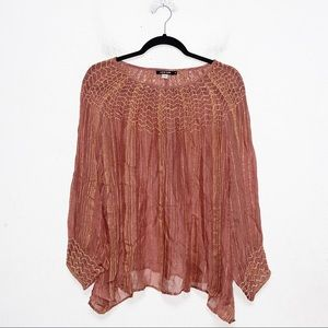 Love Sam Pink Gold Metallic Smocked Peasant Top